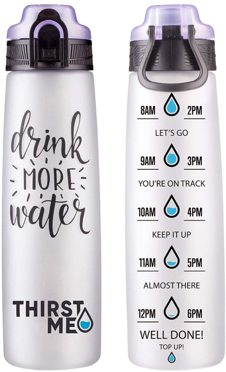 32oz Motivational Water Bottle With Time Marker to encourage you drink more water-Leakproof (Lilac)