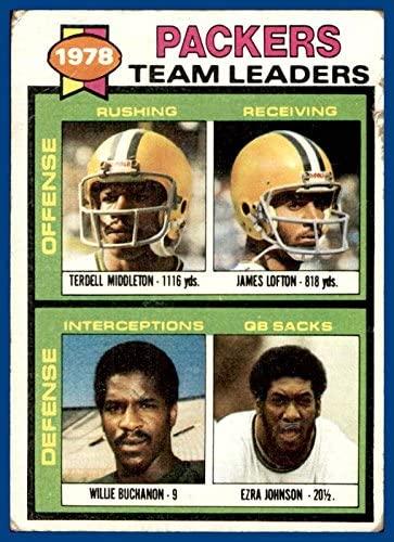 1979 Topps #407 Green Bay Packers Terdell Middleton James Lofton Willie Buchanon Ezra Johnson (poor, marked checklist)