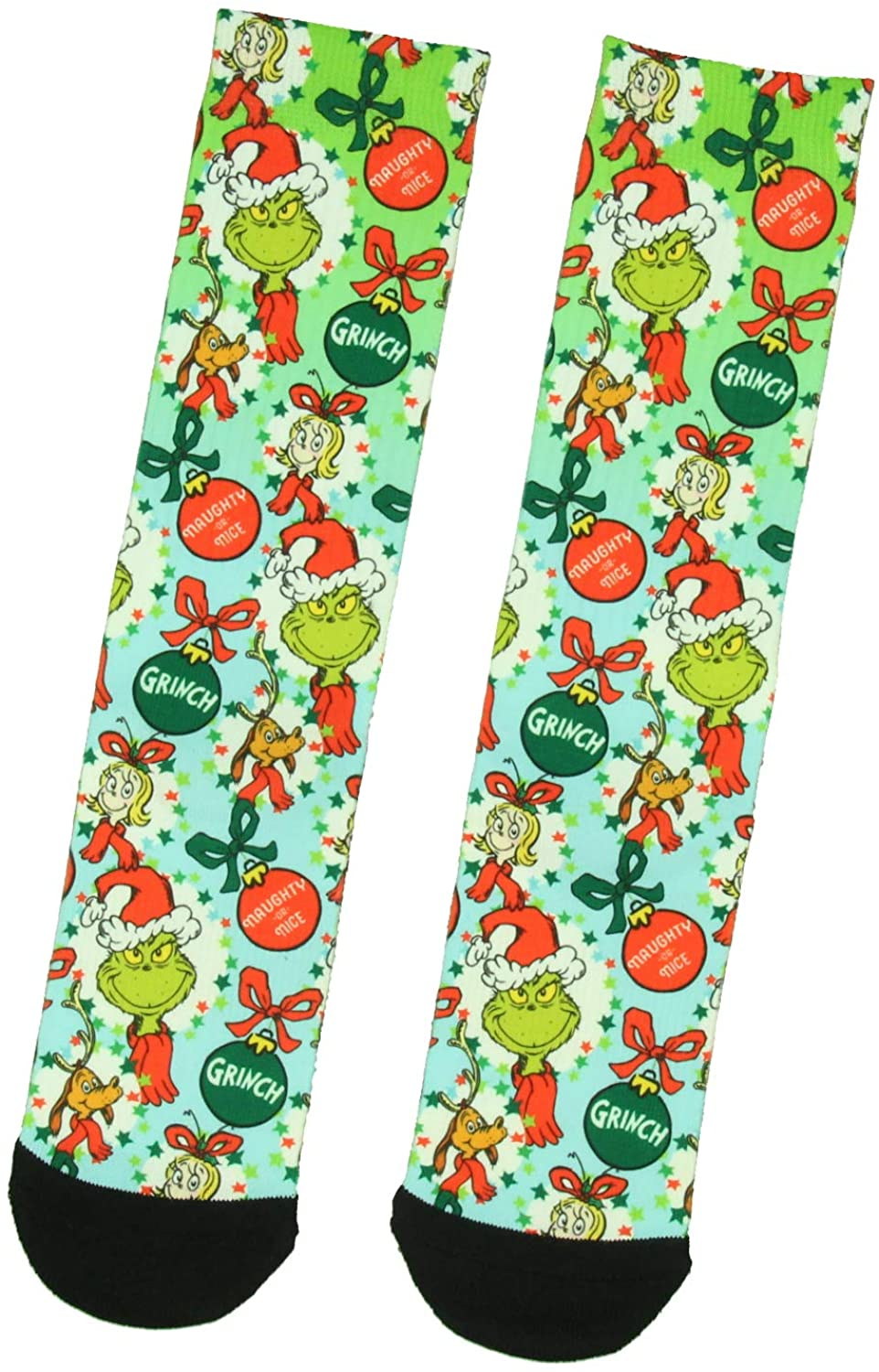 Dr Seuss The Grinch Naughty Or Nice Adult Holiday Ombré Sublimation Crew Socks