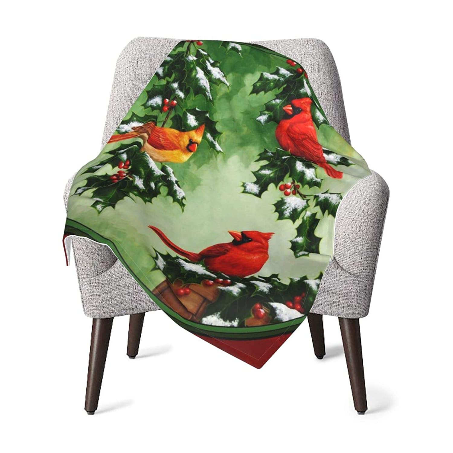 Baby Blanket for Unisex Ultra Luxurious Throw Double Layer Receiving Blanket Northern Cardinal and Holly Red Pattern Nursery Bed Blankets 30 X 40 Inch