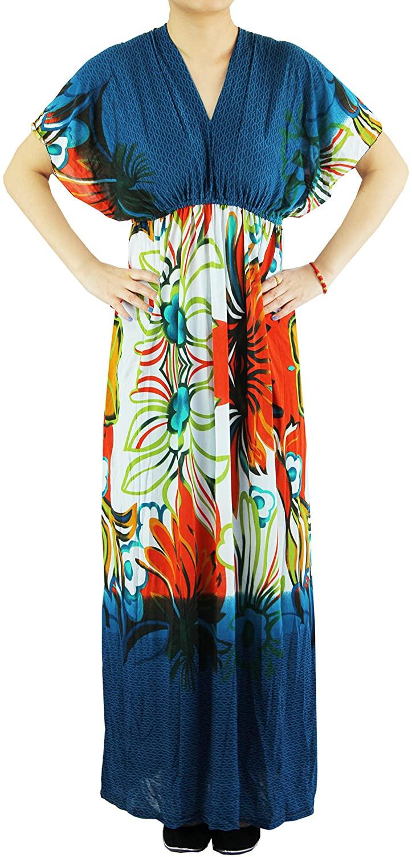 Anni Women's Clothing-Sexy Plus Size Deep V-Neck Flutter Sleeve Maxi Dress