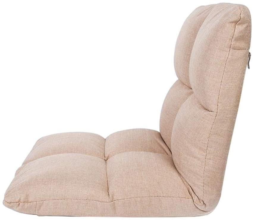 ALIPC Floor Chair Adjustable Backrest Foldable Lazy Lounge Sofa Soft Cushion Meditation Computer Single (Khaki)