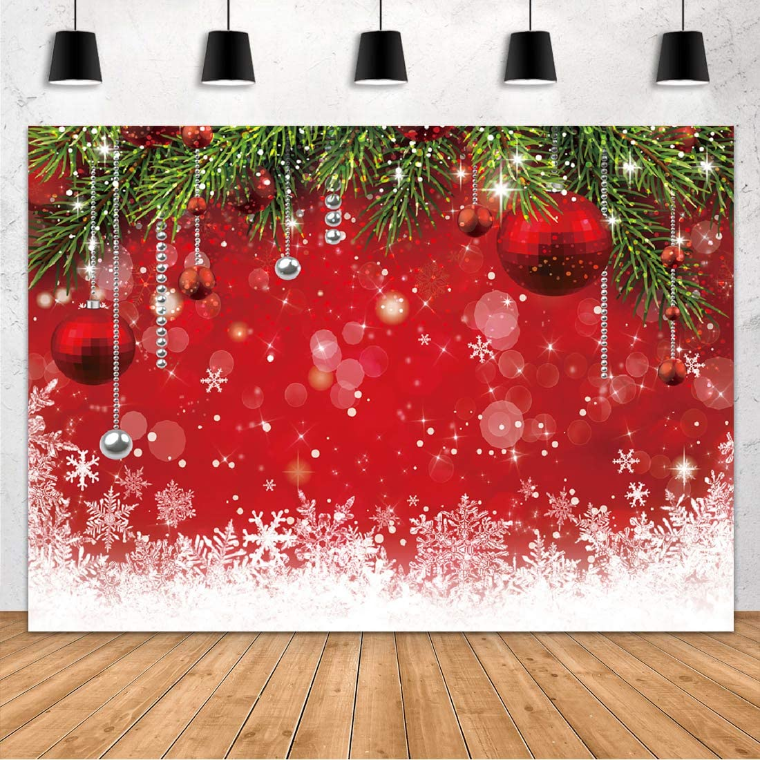 Aperturee 7x5ft Snowflake Christmas Backdrop Winter Family Party Birthday Glitter Bokeh Sparkle Red Merry Xmas Background Photography Baby Shower Portrait Decoration Photo Booth Studio Props Supplies