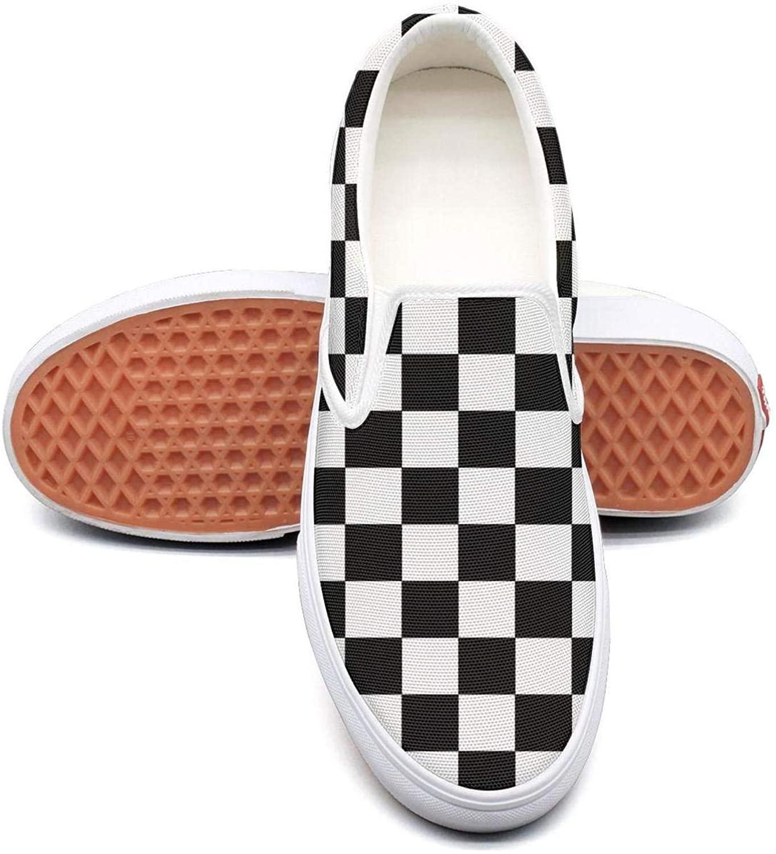 Bineill Black Checkered Shoes Womens Black and White Checkered Shoes Women Checkered Slip on Shoes Checkered Women
