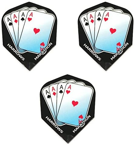 Art Attack Harrows Marathon Aces Up Club Spade Heart Diamond 100 Micron Extra Strong Dart Flights (1 Set)
