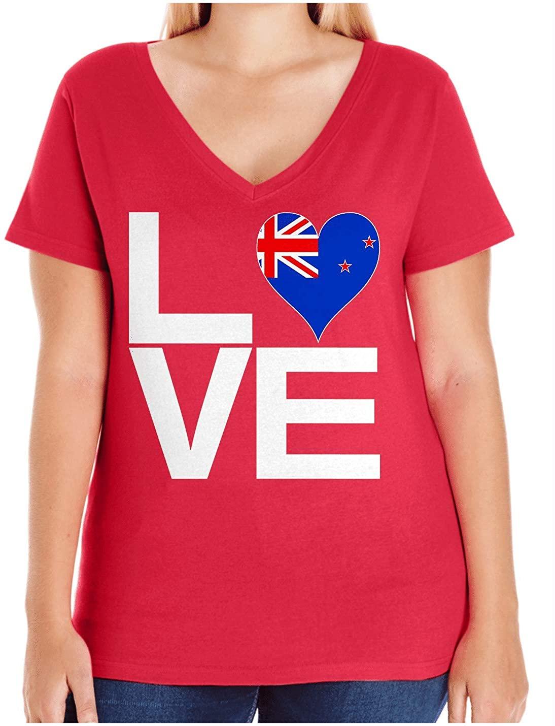 HARD EDGE DESIGN Women's Love Block New Zealand Heart Plus Size V Neck T-Shirt, Size 1, Red