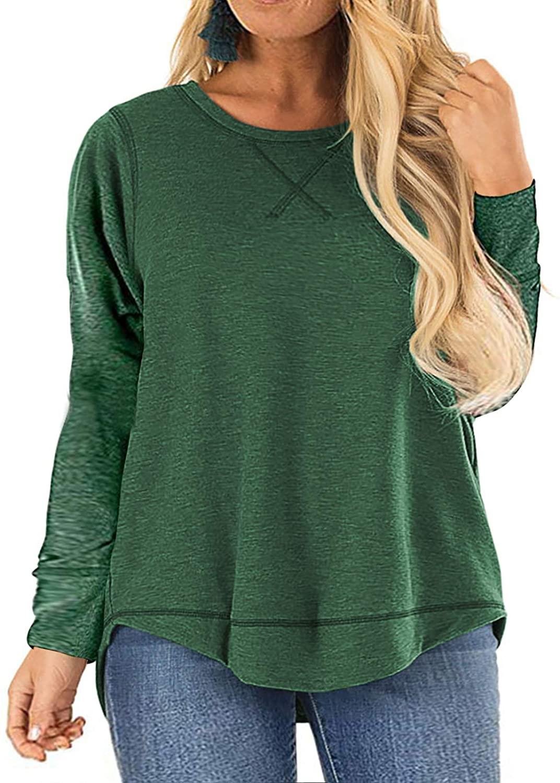 Women's Plus Size Tops Crewneck Short Sleeve Tunic Tops Casual Summer Blouse Side Split Tunics Shirts