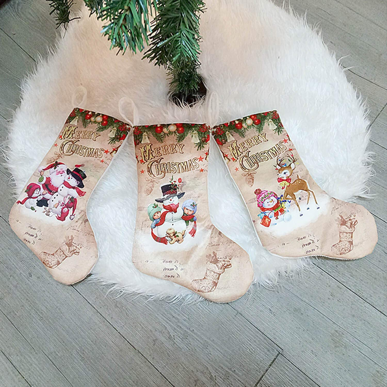 Beanlieve 3 Pieces Christmas Stockings - 11 Inch Xmas Stockings Kits, with Christmas Snowman Santa Reindeer Bear, for Xmas Party Hanging Holiday Mantel Decorate