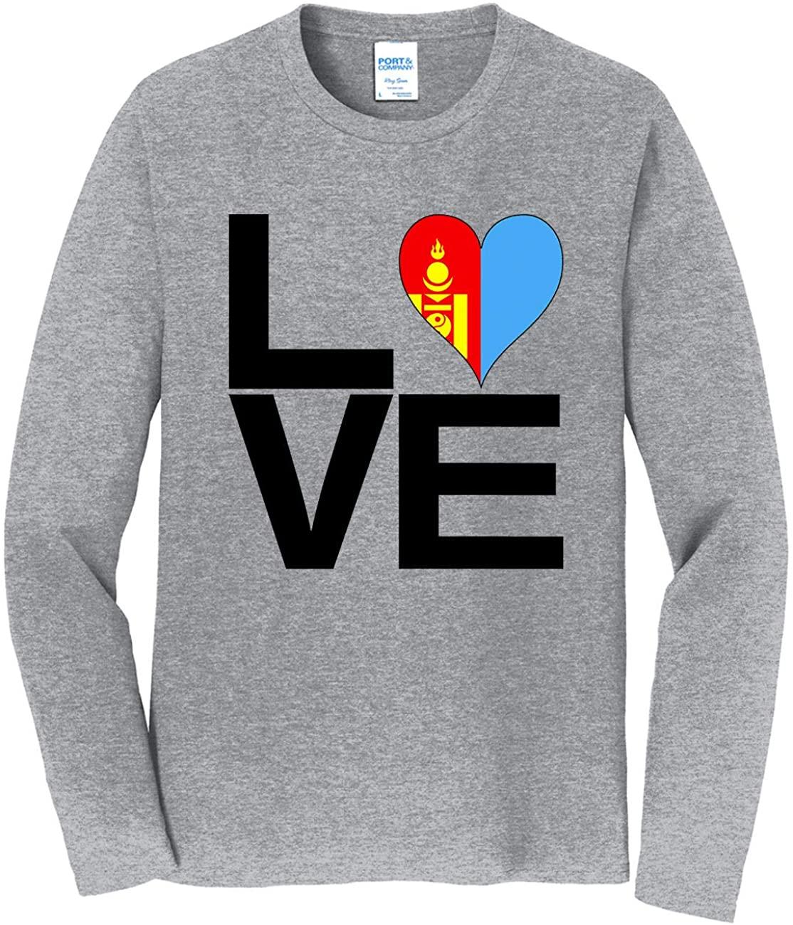 HARD EDGE DESIGN Men's Love Block Mongolia Heart Long Sleeve T-Shirt, 5X-Large, Heather Gray