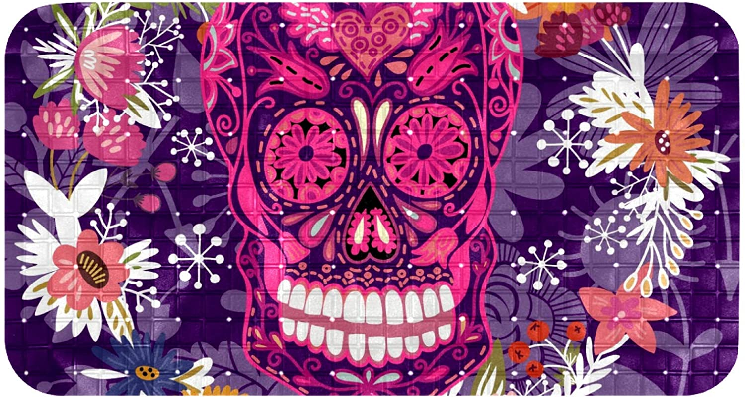 Shower Mat Non Slip, Sugar Skull Head Bathtub Mats for Shower 14.7x26.9 Inch Long Tub Non-Slip Bathroom Bath Mat for Adults and Kids with Drain Holes and Suction Cups