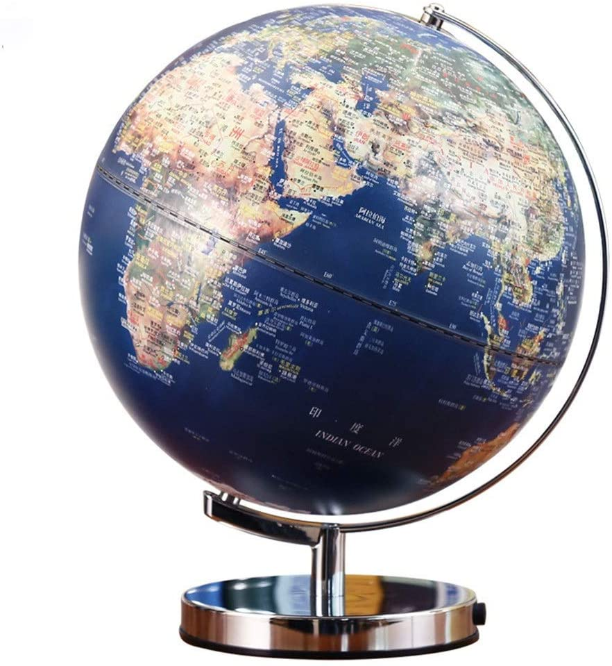 Geographic Globes LED Emboss Illuminated Earth Globe for Kids & Adults Educational Toys, Office Supplies Teacher Desk Décor World Globe (Color : Blue, Size : One Size)