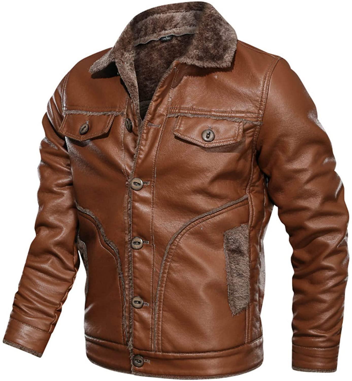 Soluo Mens Winter Spread Collar Sherpa Lined Suede Leather Trucker Jacket Coats Overcoat Outwear