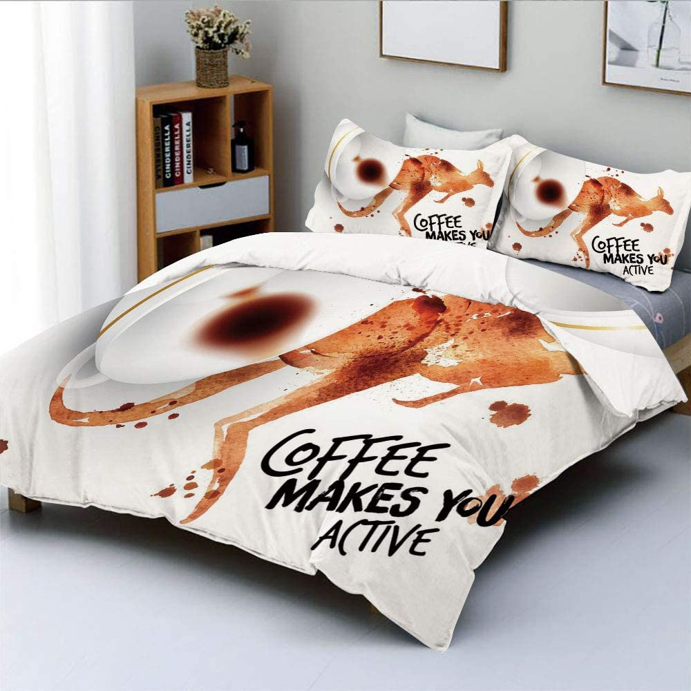 Duplex Print Duvet Cover Set Twin Size,Morning Drink Caffeine Active Start Stains Messy Look and Kangaroo DecorativeDecorative 3 Piece Bedding Set with 2 Pillow Sham,Burnt Sienna Black White,Best Gift