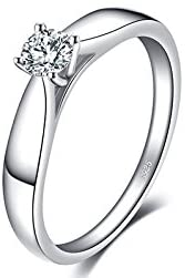 Bodyslam Lovely 0.2ct Engagement Solitaire Ring 925 Sterling Silver Rhodium Plated Wedding Jewelry for Girl (8)