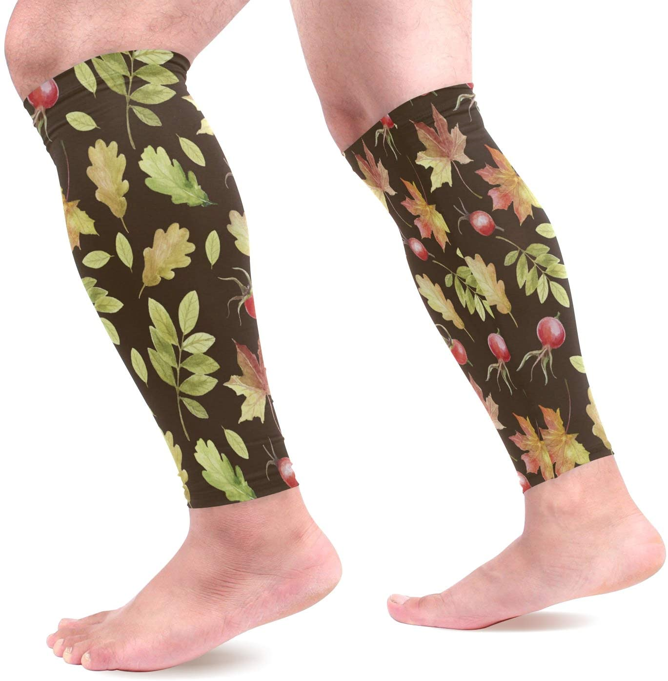 Calf Compression Sleeves Women Chic Watercolor Autumn Nature Unique Footless Calf Compression Socks for Running, Shin Splint, Calf Pain Relief, Leg Support Sleeve for Running, Air Nurses, Cycling Men