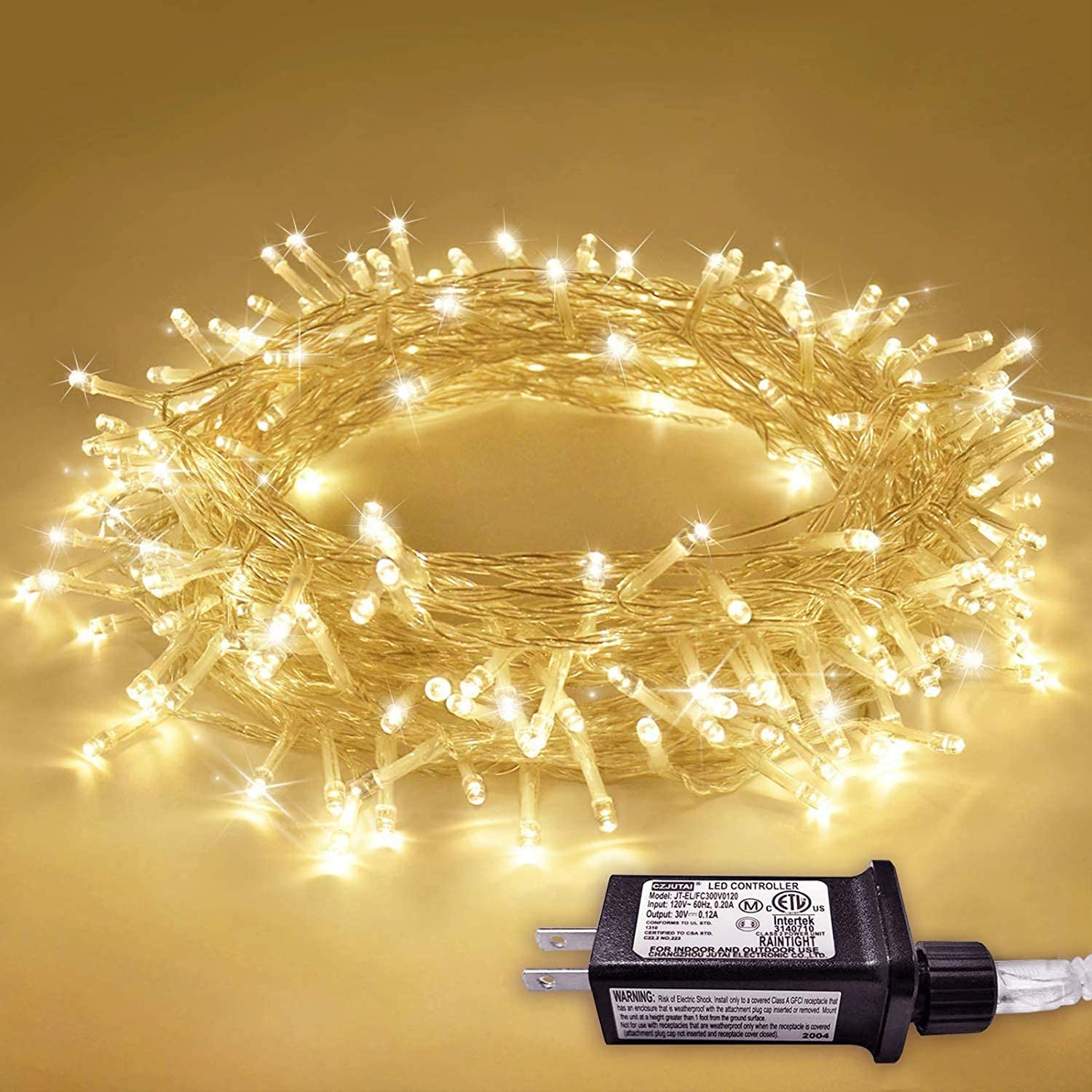 Rayolon LED Indoor String Lights, USB Powered Copper Wire Starry Fairy Lights, 200 LEDs, 8 Modes, Remote Control, 65.6ft, for Bedroom, Christmas, Parties, Wedding, Decoration (Yellow)