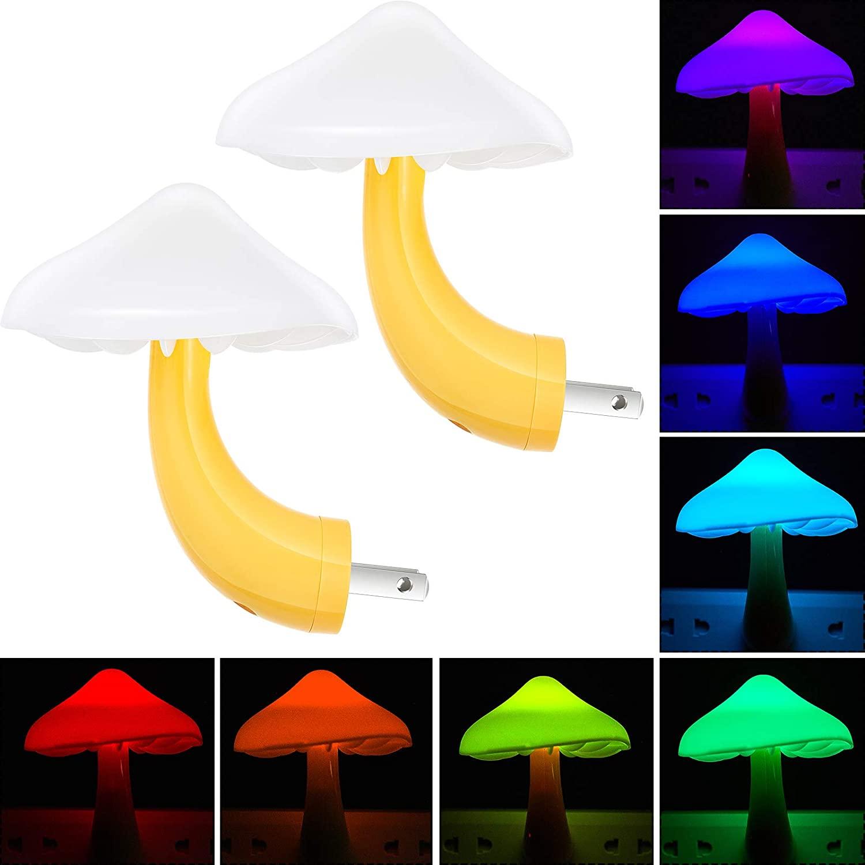 2 Pieces LED Mushroom Night Lamp Plug in Lamp Mushroom Night Light 7-Color Changing Magic Mini Mushroom Night Lights for Adults Kids Thanksgiving Christmas