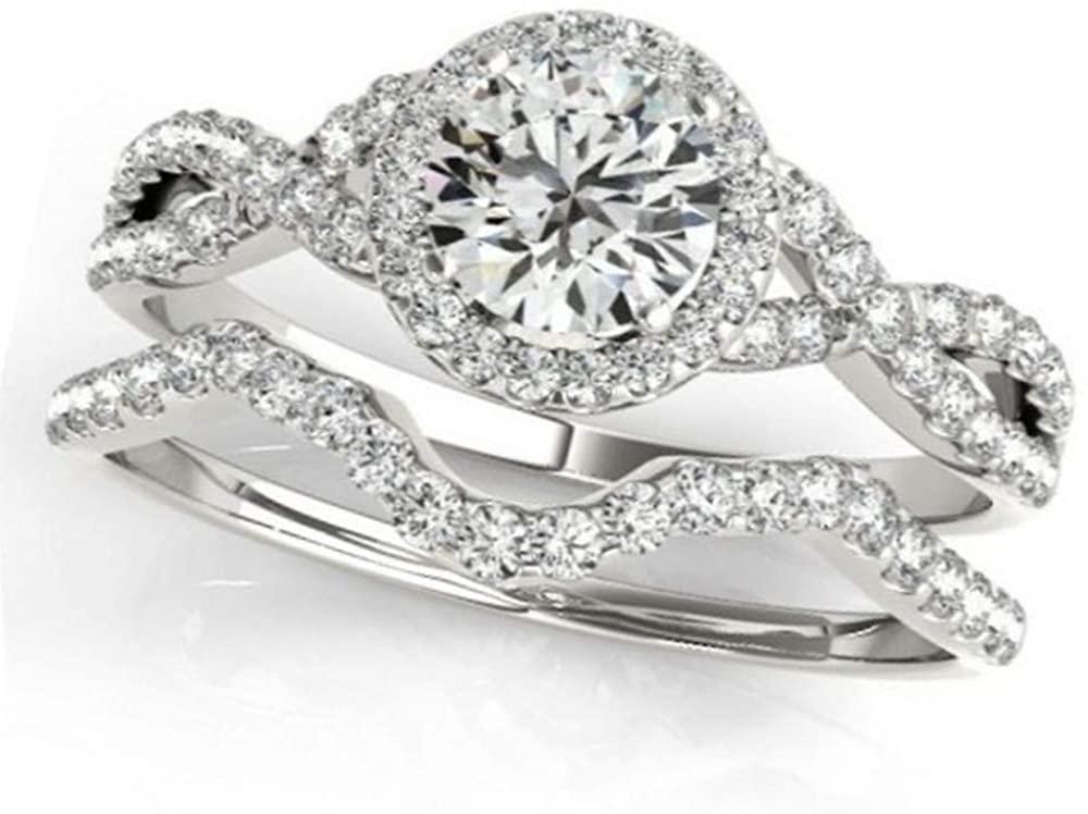 Twisted Infinity Round Diamond Engagement Ring Bridal Set Palladium (0.57ct)