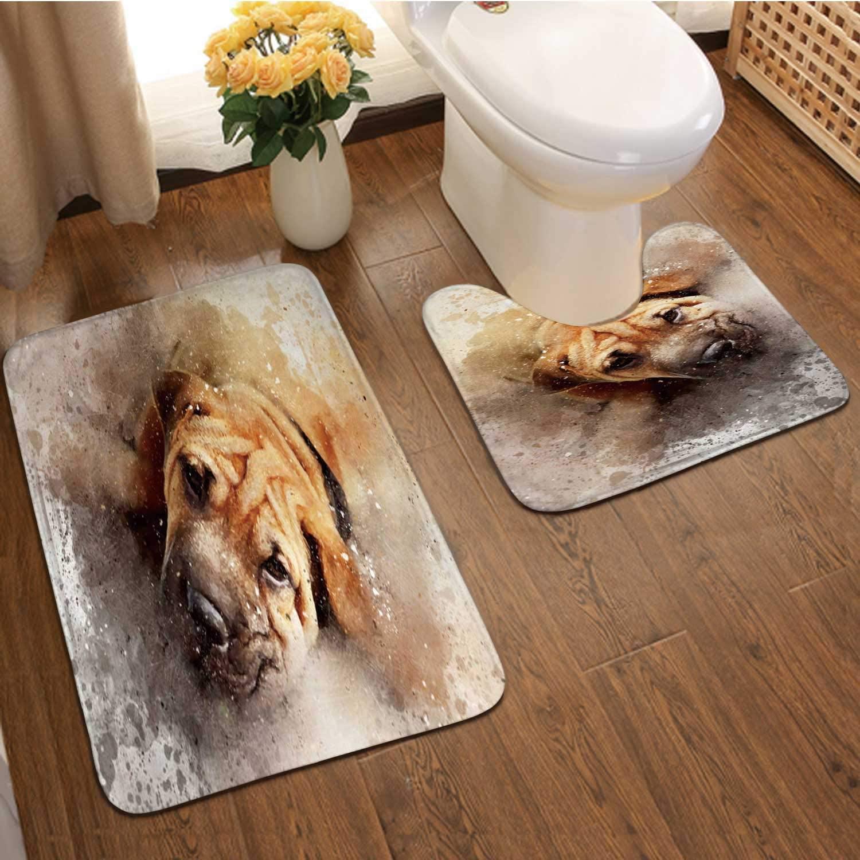 Mixed Media Portrait of a oung Shar pei Dog China - East Asia,Bathroom Rugs Bath Mat Set,Non-Skid Shower Rug +Toilet Mat UK
