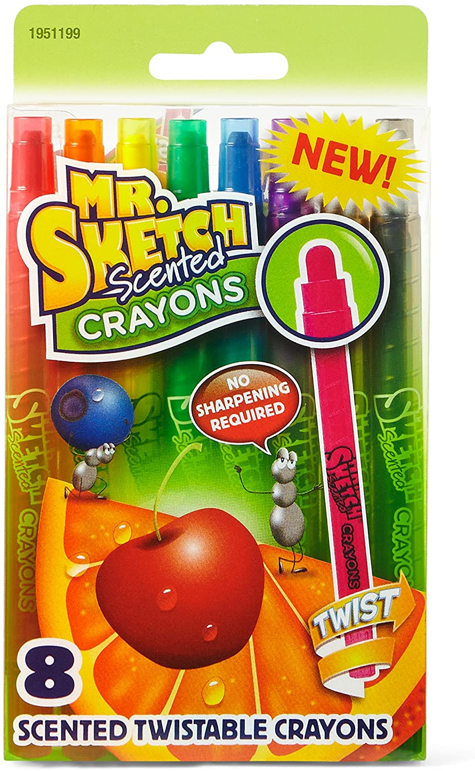 Mr. Sketch 1951199 Scented Twistable Crayons, Assorted Colors, 8-Count