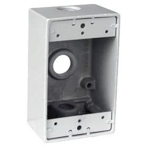 Thomas & Betts DIH3-1-LM-WH 1-Gang White Universal Box with Mounting Lugs, Two Closure Plugs and Ground Screw, Hub Size-1/2
