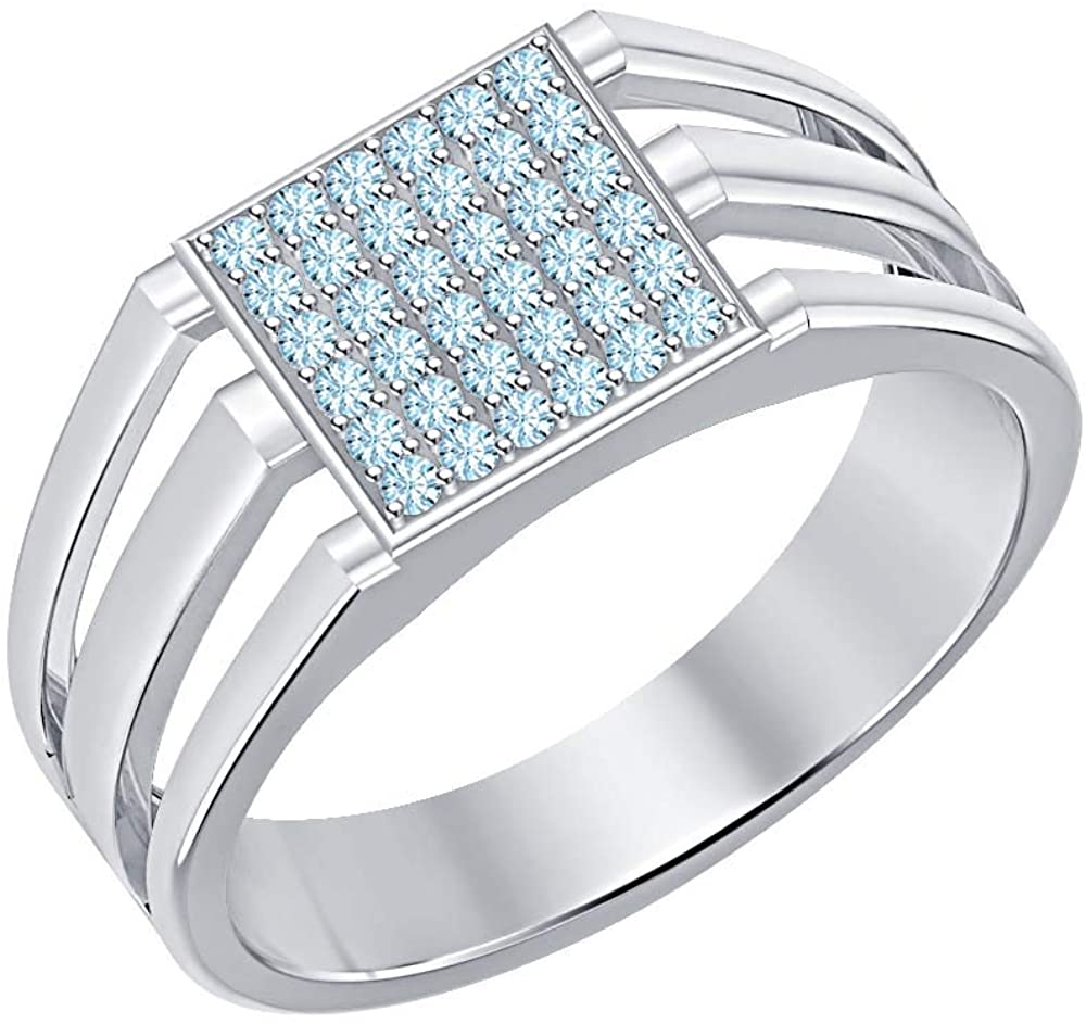 Gold & Diamonds Jewellery 14k White Gold Plated Blue Aquamarine Cluster Art Deco Wedding Band Ring for Men's