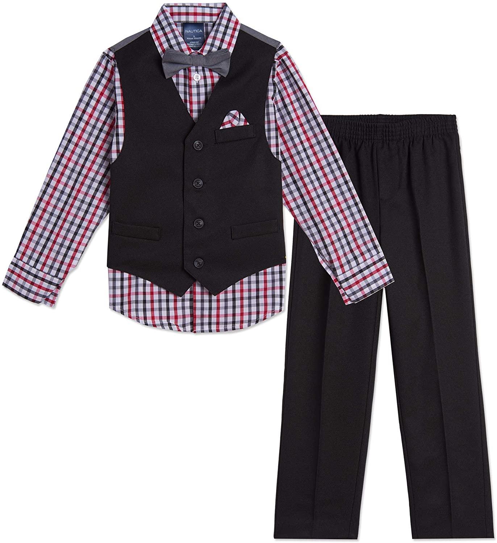 Nautica Boys' 4-Piece Set with Dress Shirt, Bow Tie, Vest, and Pants