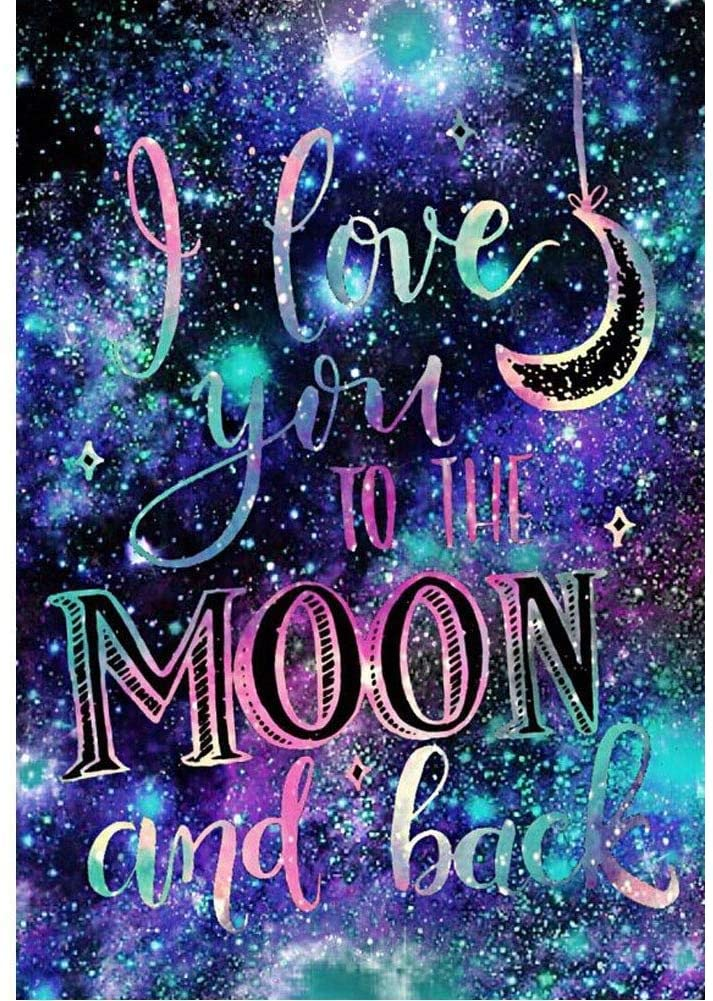 Diamond Painting Kits for Adults Kids, 5D DIY I Love You to The Moon and Back Diamond Art Accessories with Round Full Drill for Home Wall Decor - 11.8×15.7Inches