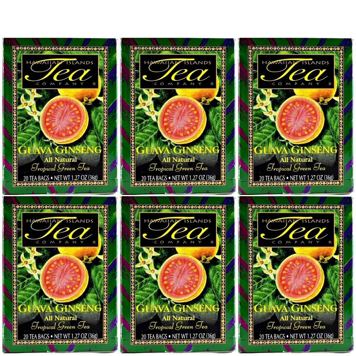 Hawaiian Islands Guava Ginseng Tropical Green Tea, All Natural - 20 Teabags Per Box (Pack of Six)