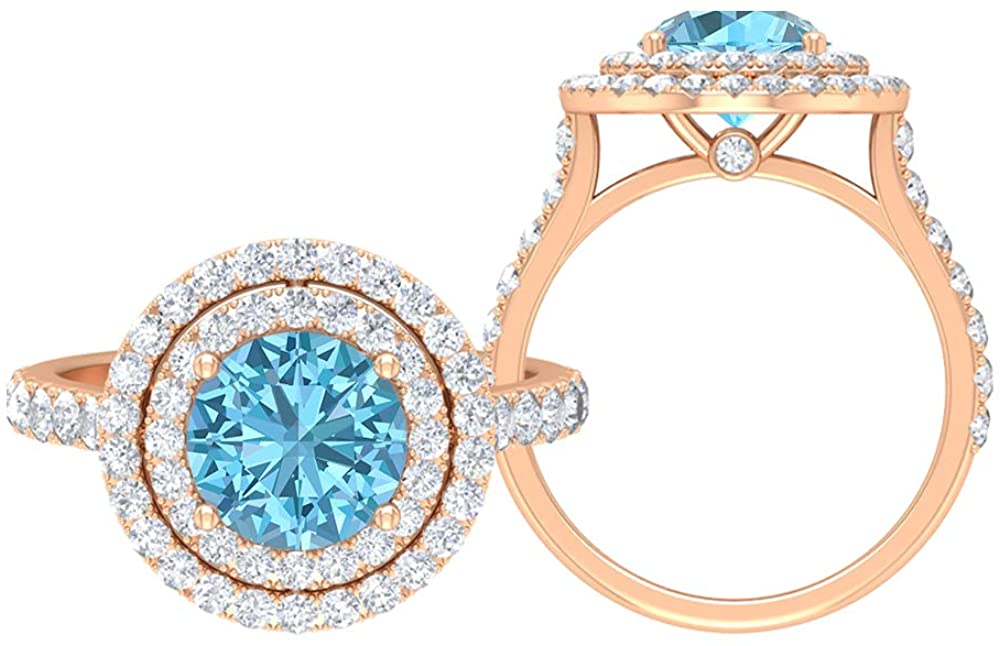 Solitaire Bridal Ring Set, 3.64 CT Round Gemstones, D-VSSI Moissanite 8 MM Aquamarine, Halo Ring with Side Stones, Gold Jewelry for Her, 18K Gold
