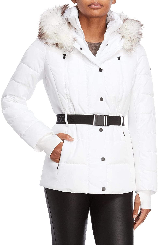 Michael Michael Kors Womens Logo Belted Hood Faux Fur Trim Puffer Coat Short Jacket Lightweight White