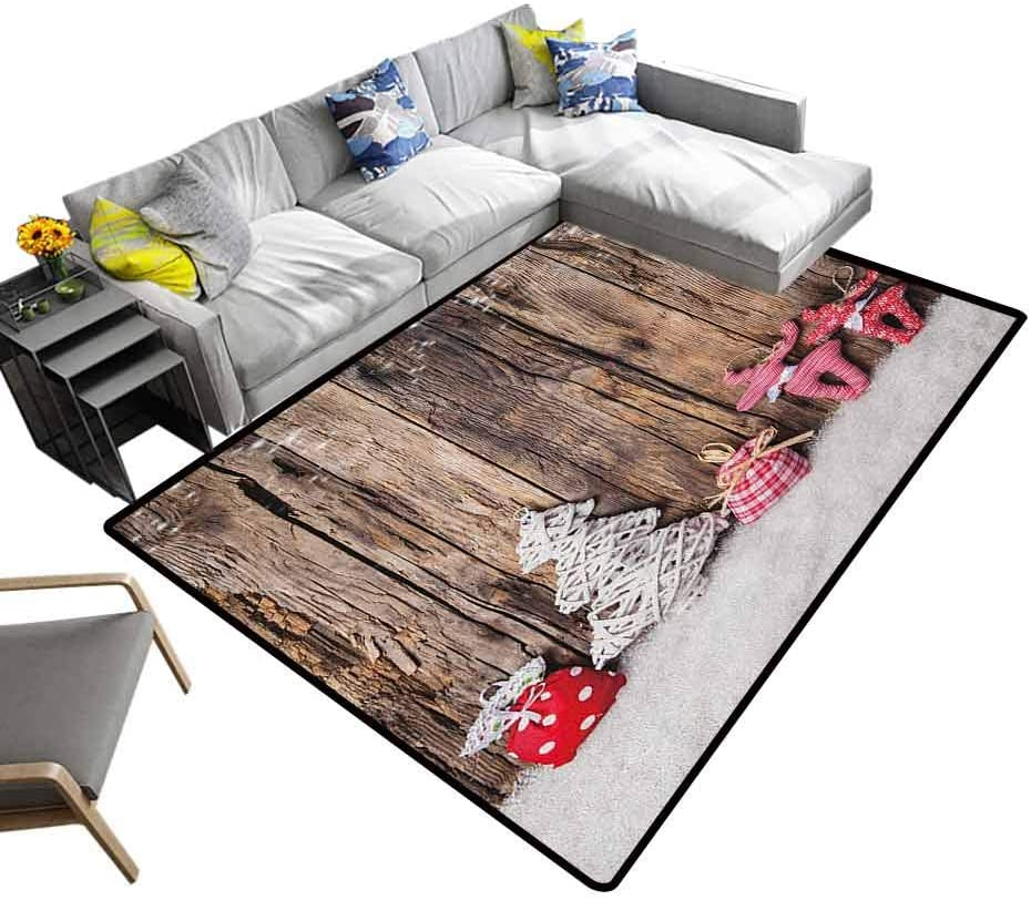 Living Room Carpets Winter, Luxury Shag Carpets Traditional Cute Cloth Christmas Inspired Figures Rustic Wooden Planks Vintage Comfy Bedroom Home Decorate Brown White Pink, 7 x 7 Feet