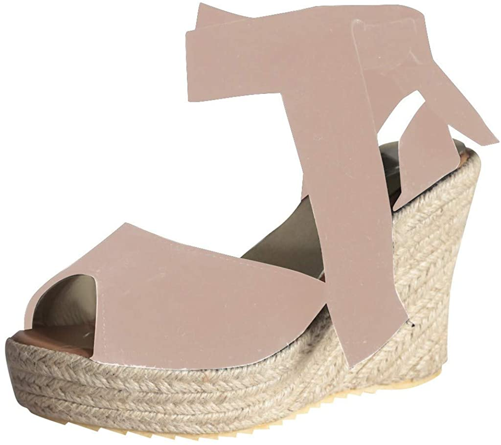 BOLUBILUY Wedge Sandals for Women,Ope Toe Wedges Platform Thick Bottom One Band Lace Up Beach Shoes Roman Sandals Beige