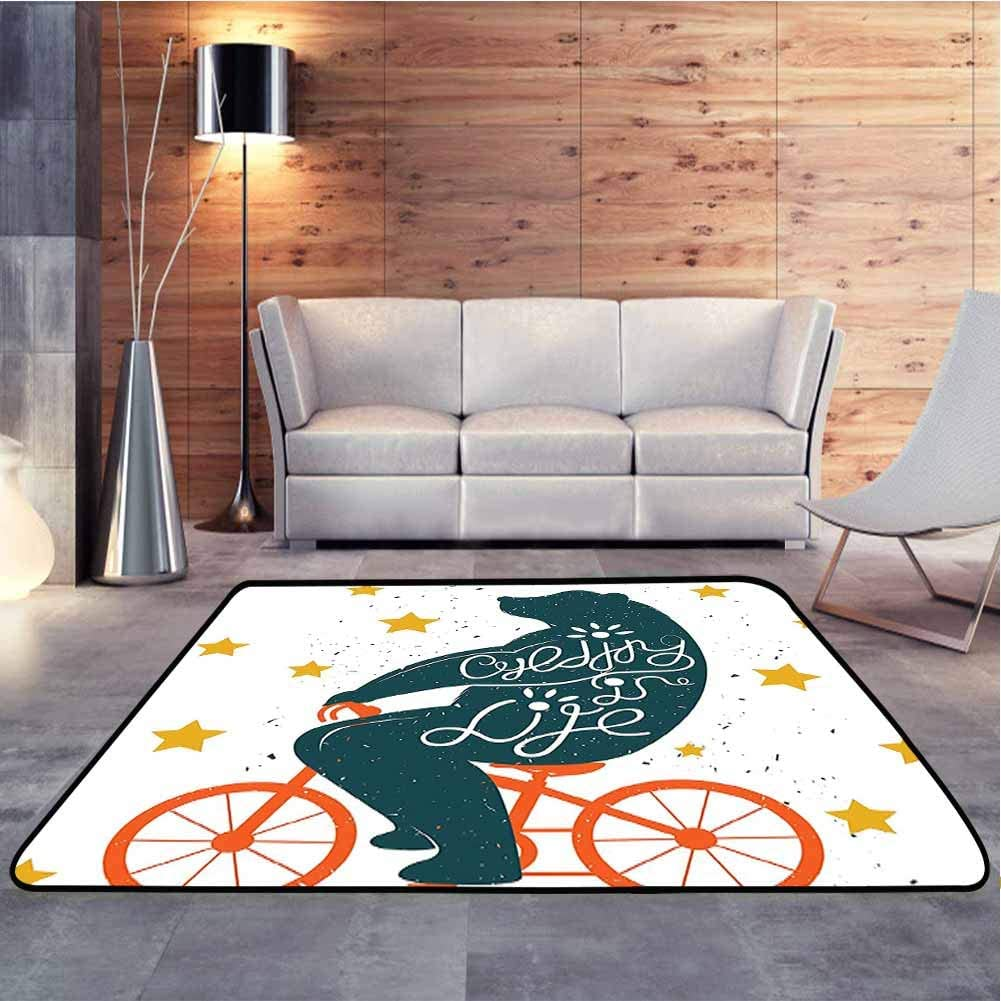 Carpet Floor Mat Silhouette of A Biking Giant Bear Graphic with Distressed Effects and Stars Print Christmas Thanksgiving Holiday Decor Rug Carpet for Children Home Decorate, 6 x 9 Feet