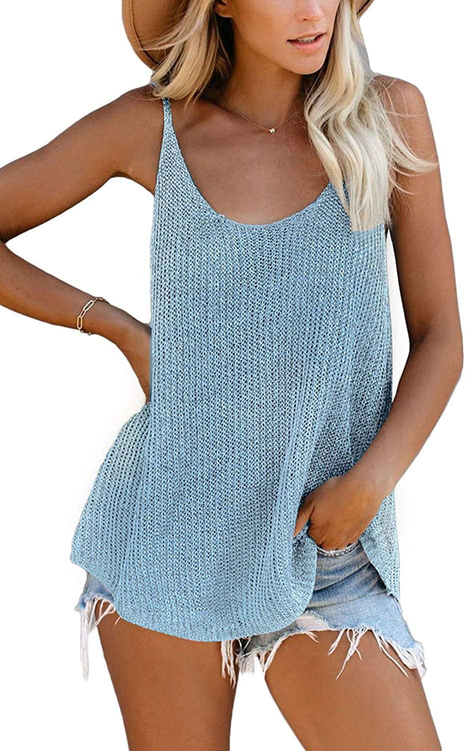 KINGFEN Knit Tank Tops and Blouses for Women Loose Fit Casual Sleeveless Shirts
