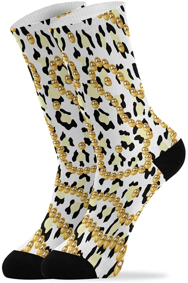 Golden Beads Necklace Leopard Print Novelty Casual Socks for Women Men Teen Boys Girls Unisex