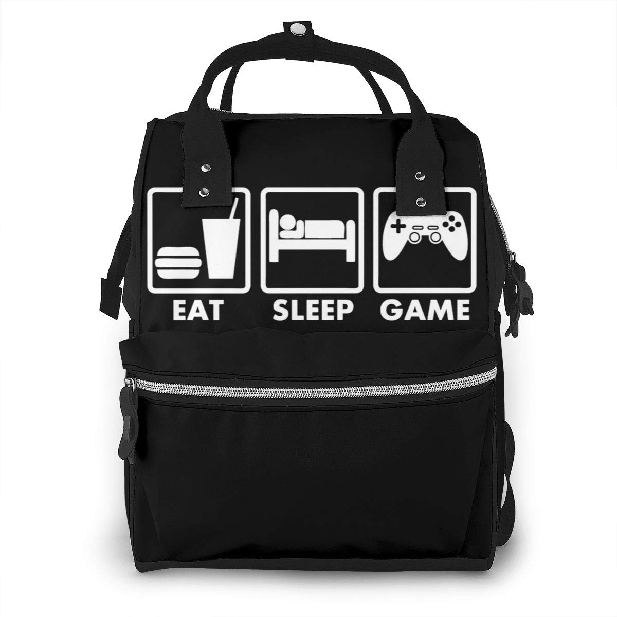Eat Sleep Game Video Games Diaper Bag Multi-Function Waterproof Travel Backpack Nappy Bags for Baby Care Mummy Backpack