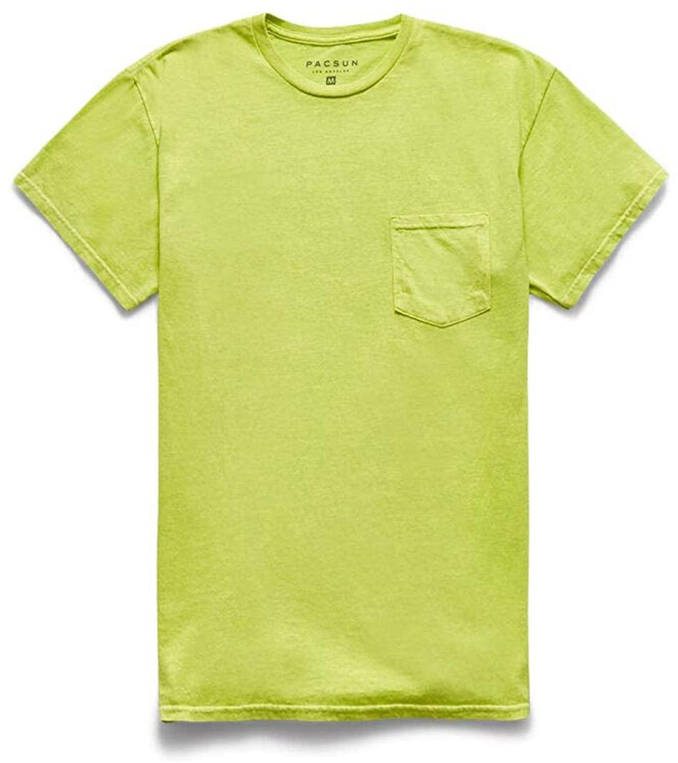 PacSun Mens Neon Green Acid Wash Pocket T-Shirt