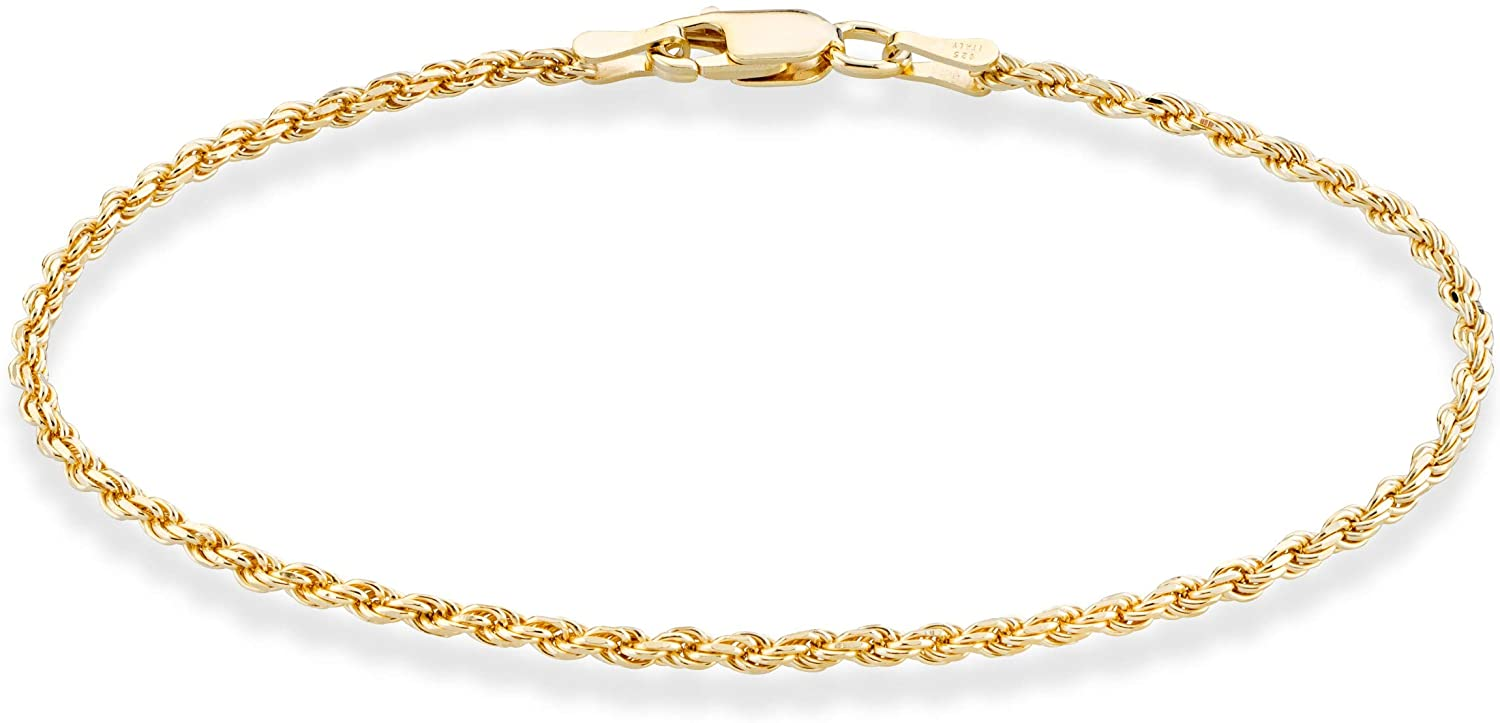 Miabella 18K Gold Over Sterling Silver Italian 2mm, 3mm Diamond-Cut Braided Rope Chain Bracelet for Men Women 6.5, 7, 7.5, 8, 8.5 Inch Solid 925 Made in Italy
