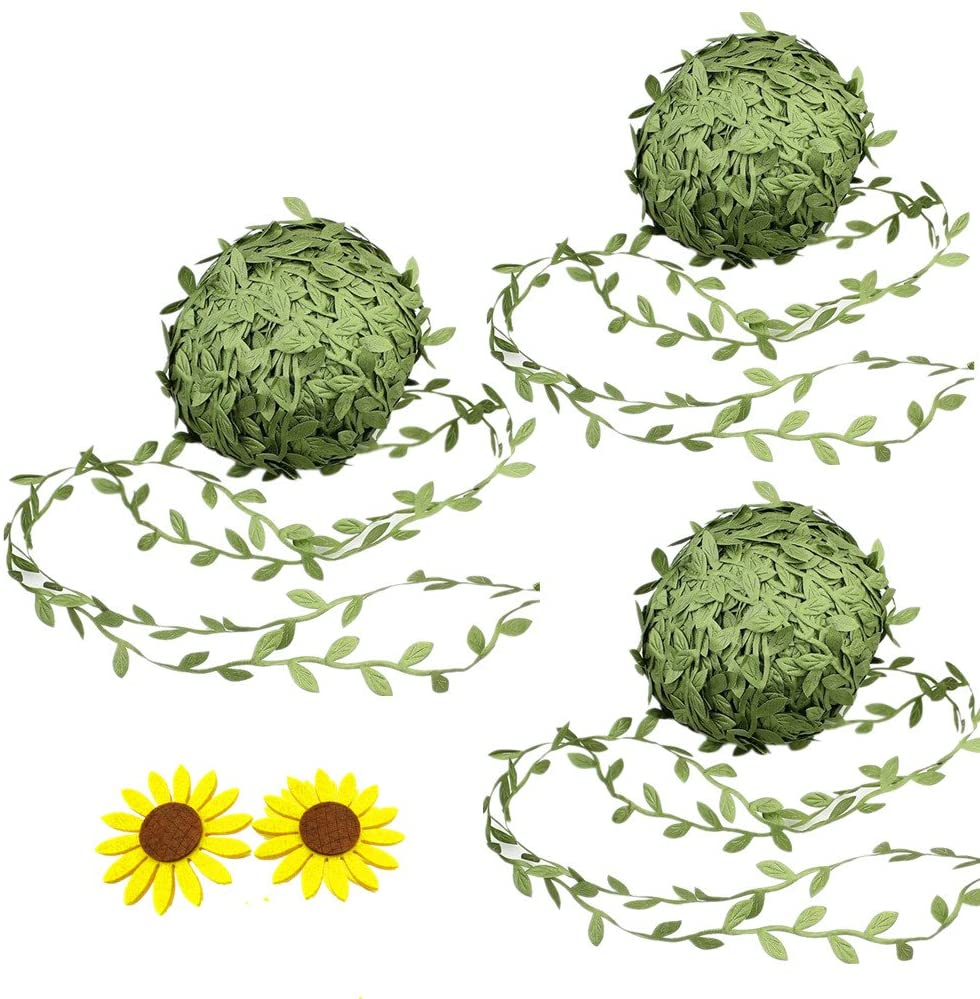 Zhiheng 3 Rolls 22Yards Artificial Ivy Leaf Ribbon Fake Olive Green Vines Trim Jungle Garland with Sunflower Felt Applique for Rustic Wrapping Wedding Home Garden Decoration Craft Supplies