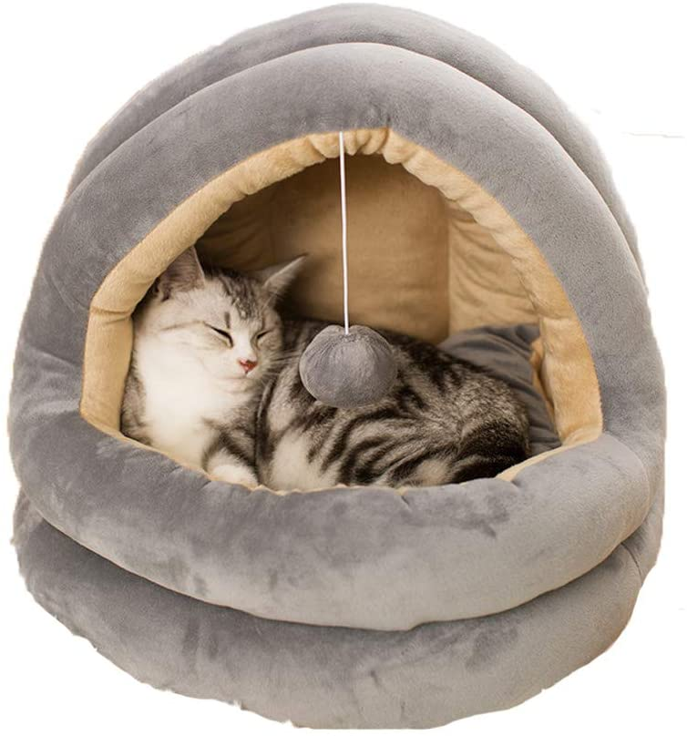 ZPF Yurt Cat Nest, Four Seasons Universal Closed Cat Nest, Ecofriendly Cat Cave with Bouncy Ball, Suitable for Small and Medium Pet