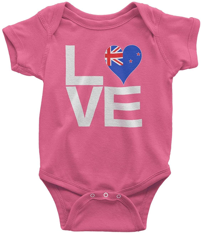 HARD EDGE DESIGN Infants Love Block New Zealand Heart Bodysuit, 24 Months, Hot Pink