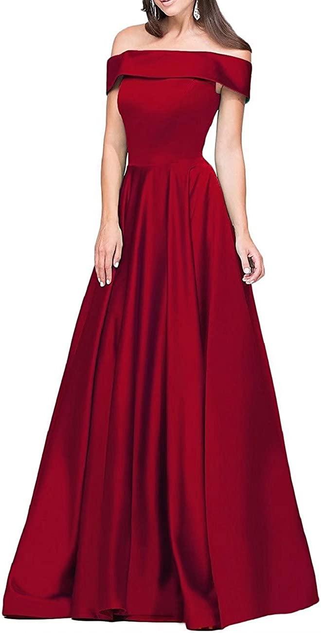 YOUTODRESS Women's Satin Off Shoulder Maxi Prom Wedding Guest Cocktail A-Line Dress