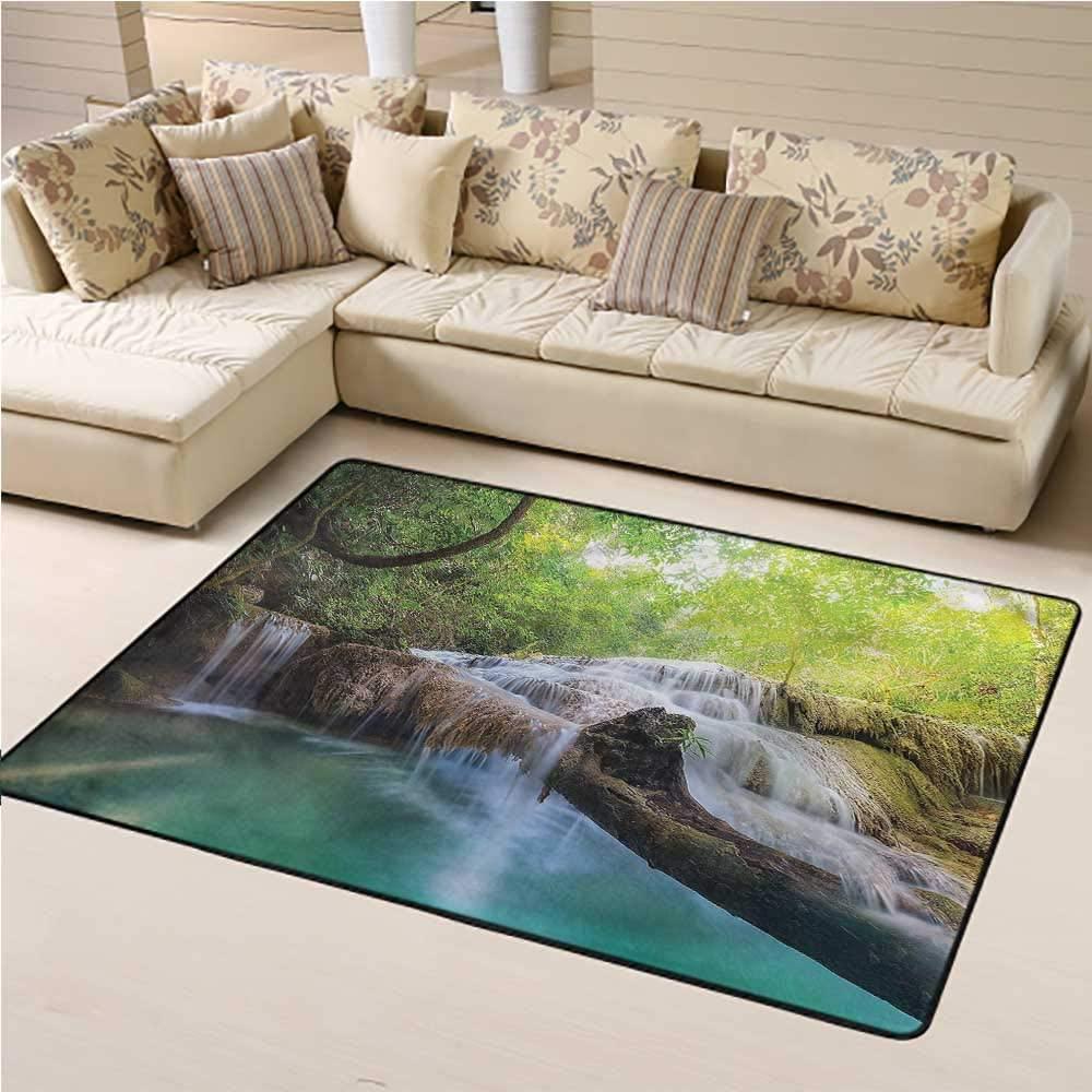 Indoor Rug Waterfall Kids Play Rug Erawan Cascade Landscape 6' x 9' Rectangle