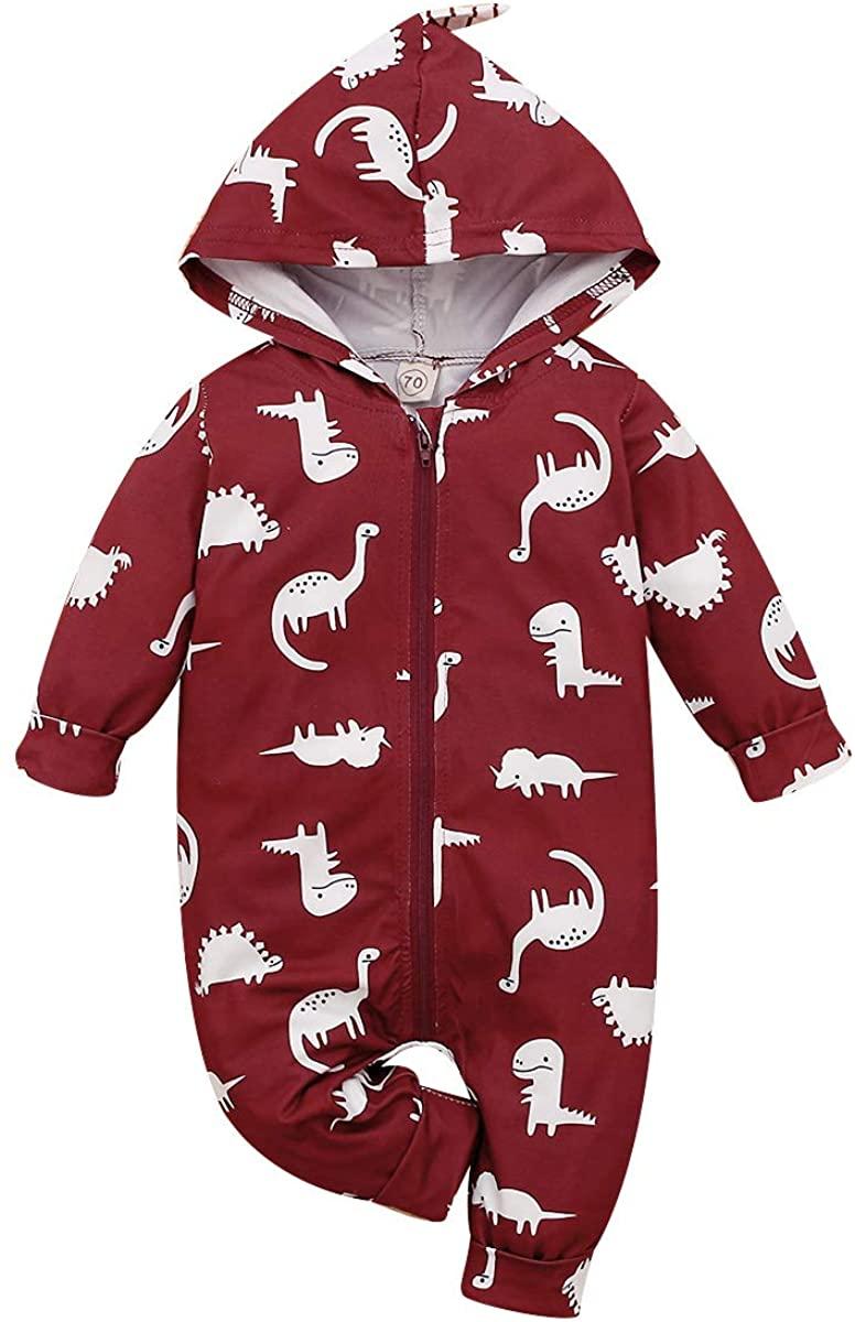 SEVEN YOUNG NewbornBaby Girls Cartoon Dinosaur Hoodie Romper Onesies Jumpsuit Baby Clothes Bodysuit