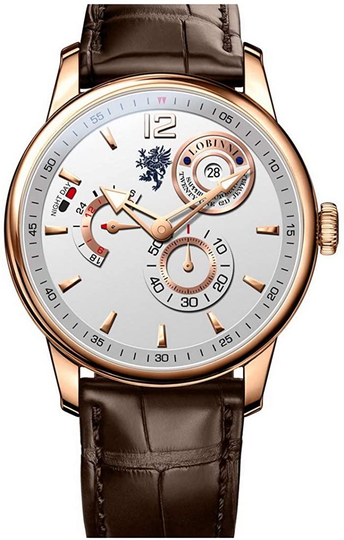 Mens Watches,Men Automatic Watch LOBINNI Luxury Waterproof Leather Band Dress self Wind Mechanical Wristwatch Fashion Analog Watches