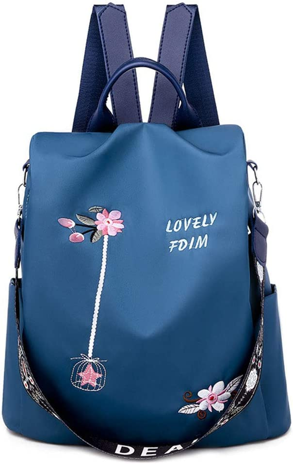 Backpack Womens, Fashion Embroidered Shoulder Bag Fresh Oxford Cloth Backpack Anti-Theft Large Capacity Versatile Leisure Bag