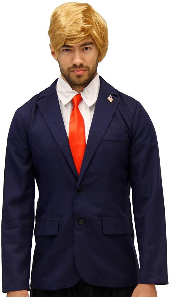 Republican Trump Costume Jacket, Tie, Wig & Pin