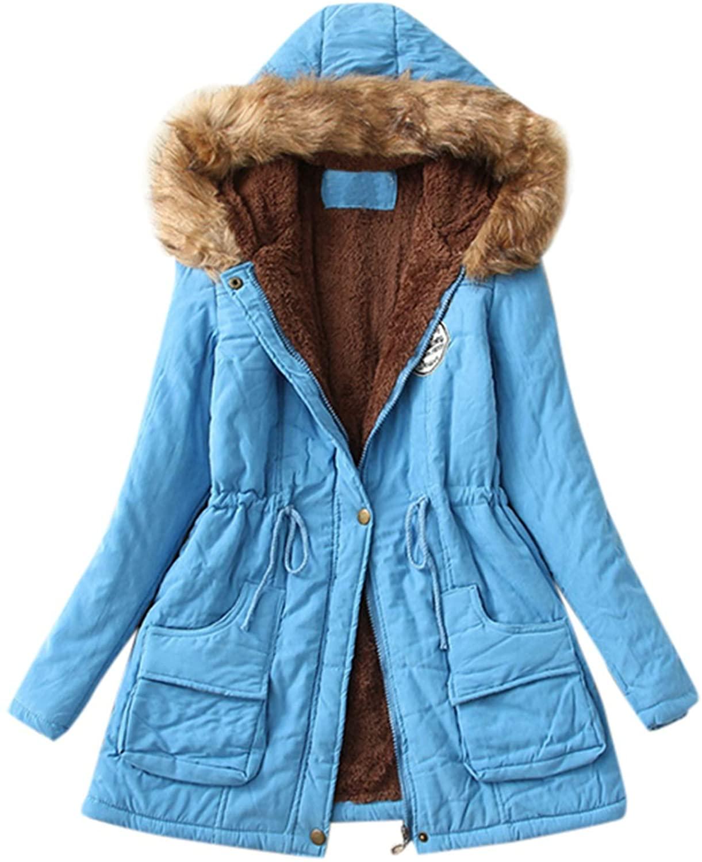 HGWXX7 Womens Fashion Winter Warm Faux Fur Collar Hooded Long Sleeve Jacket Parka Outwear Coats