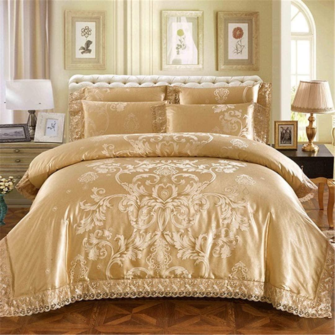 Taotame Sliver Golden Luxury Queen King Size Bedding Sets Lace Silk Satin Cotton Bed Set Duvet Cover Set Bedlinens Pillowcase 1 King Size 4pcs
